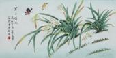 北京美协凌雪三尺横幅工笔花鸟画《君子清风》