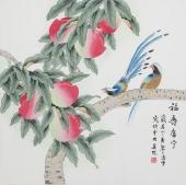 北京美协凌雪四尺斗方工笔花鸟画《福禄康宁》