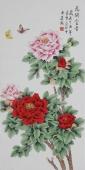 【已售】北京美协凌雪三尺竖幅工笔花鸟画《花开富贵》
