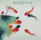 书画名家 北京美协凌雪四尺斗方工笔花鸟画《年年有余》
