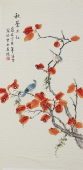 书画名家 北京美协凌雪三尺竖幅工笔花鸟画《秋叶正红》