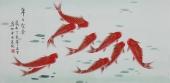 北京美协凌雪三尺横幅工笔花鸟画《年年有余》