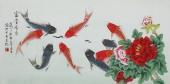 【已售】北京美协凌雪三尺横幅工笔花鸟画《富贵有余》