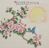北京美协凌雪四尺斗方工笔花鸟画《花好月圆》