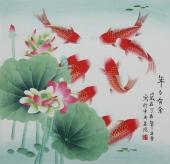 【已售】书画精品 北京美协凌雪四尺斗方工笔花鸟画《年年有余》