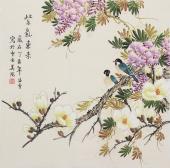 【已售】名家书画 北京美协会员四尺斗方工笔花鸟画《紫气东来》