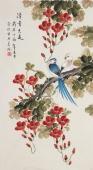 【已售】北京美协凌雪三尺竖幅工笔花鸟画《清香溢远》