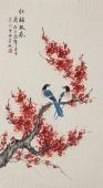 书画名家 北京美协凌雪三尺竖幅工笔花鸟画《红梅报春》