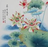 书画精品 北京美协凌雪四尺斗方工笔花鸟画《荷香万里》