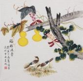 【已售】北京美协凌雪四尺斗方工笔花鸟画《福禄满堂》