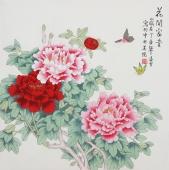书画名家 北京美协凌雪四尺斗方工笔花鸟画《花开富贵》