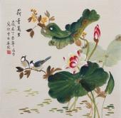 【已售】名家 北京美协凌雪四尺斗方工笔花鸟画《荷香万里》