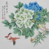 北京美协凌雪四尺斗方工笔花鸟画《花开富贵》