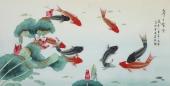 【已售】北京美协凌雪四尺横幅工笔花鸟画《年年有余》