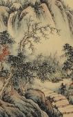 【已售】国家一级美术师 广西美协黎启师小四尺横幅青绿山水画《松山幽居》