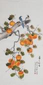 【已售】北京美协凌雪四尺竖幅工笔花鸟画《事事如意》