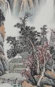 国家广西美协黎启师小四尺竖幅青绿山水画《溪山高远》