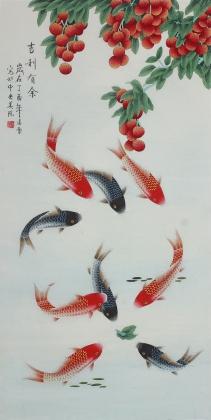 【已售】北京美协凌雪四尺竖幅工笔花鸟画《吉利有余》