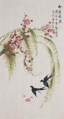 北京美协凌雪三尺竖幅工笔花鸟画《柳荫飞燕》