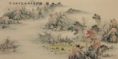 【已售】广西美协黎启师小四尺横幅青绿山水画《松山雅居》