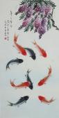 北京美协凌雪四尺竖幅工笔花鸟画《年年有余》