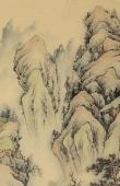 【已售】广西美协黎启师小四尺竖幅青绿山水画《松山高远》