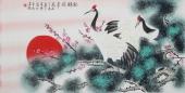 【已售】北京美协凌雪四尺横幅工笔花鸟画《松鹤延年》