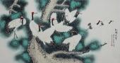 北京美协凌雪六尺横幅工笔花鸟画《松鹤延年》