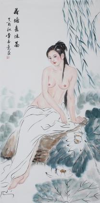 书画协会李孟尧精品写意四尺竖幅人物画《荷塘春沐图》
