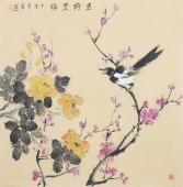 河南美协皇甫小喜四尺斗方水墨小写意花鸟《紫气东来》