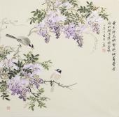 绘画名家 河南美协皇甫小喜四尺斗方水墨小写意花鸟《紫气东来》