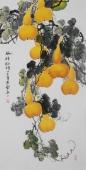黄艺四尺竖幅水墨小写意花鸟画葫芦图《福禄临门》
