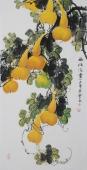 【已售】黄艺四尺竖幅水墨小写意花鸟画葫芦图《福禄满堂》