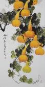 黄艺四尺竖幅水墨小写意花鸟画葫芦图《福禄图》