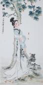 书画协会李孟尧精品写意四尺竖幅人物画《碧梧秋思》