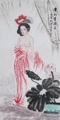 【询价】中国书画协会李孟尧精品写意四尺竖幅人物画《贵妃赏荷图》