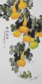 【已售】黄艺四尺竖幅水墨小写意花鸟画葫芦图《福禄临门》