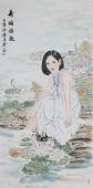 书画协会李孟尧精品写意四尺竖幅人物画《荷塘雅趣》