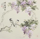 【已售】绘画名家 河南美协皇甫小喜水墨小写意花鸟,紫藤《紫气东来》