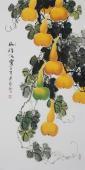 黄艺三尺竖幅水墨小写意花鸟画葫芦图《福禄满堂》