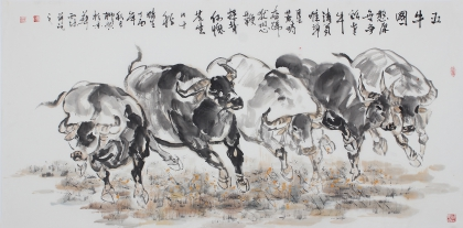 【已售】动物画名家杨西沐四尺斗方十二生肖牛图《五牛图》