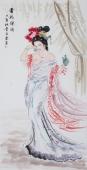 【已售】中国书画协会李孟尧精品写意四尺竖幅人物画《贵妃醉酒》