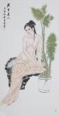 书画协会李孟尧精品写意四尺竖幅人物画《蕉叶美人》
