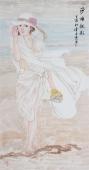 书画协会李孟尧精品写意四尺竖幅人物画《沙滩靓影》