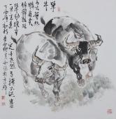动物画名家杨西沐四尺斗方十二生肖牛图《牛》