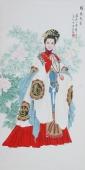 北京美协会员凌雪精品工笔四尺竖幅人物画《国色天香》