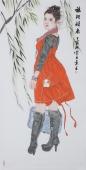 【询价】中国书画协会李孟尧精品写意四尺竖幅人物画《旅行归来》