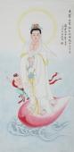 北京美协会员凌雪精品工笔四尺竖幅观音像《观世音菩萨》