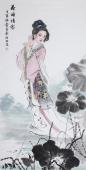 【询价】中国书画协会李孟尧精品写意四尺竖幅人物画《荷塘倩影》