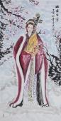 书画协会李孟尧精品写意四尺竖幅人物画《昭君出塞》